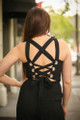 Fierce Power Black Jumpsuit with Lace Up Back back detail view.