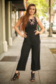 Fierce Power Black Jumpsuit with Lace Up Back full body front view.