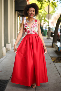 Rage in Ruby Red Floral Embroidered Gown front view.