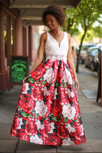 Old Fashioned Class Ivory and Red Floral Gown front view.