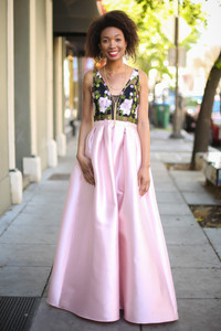 Blush Beauty Floral Embroidered Satin Gown with Pockets front view.