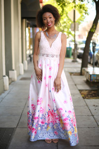 Watercolor Wonder Blush Floral Satin Gown with Pockets front view.