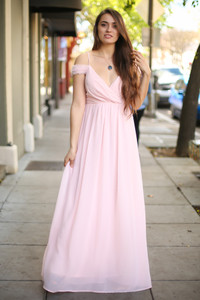 Perfection with Pearls Blush Off Shoulder Gown front view.