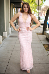 Some Like It Blush Sleeveless Maxi Dress front view.