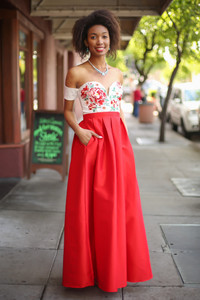 Love in the Air Red Floral Embroidered Gown with Pockets front view.