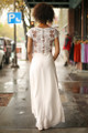 All Into Ivory Lace Maxi Dress with Slit back view.