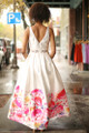 Floral Garden Ivory Floral Satin Gown back view.