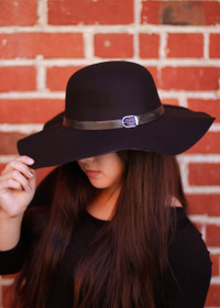Black Floppy Hat front view.