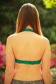 Let There Be Lace Halter Bralette in Hunter Green back view.