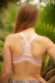 Delicately Stunning Y-Back Lace Bralette in Light Pink back view.