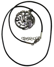 Wax Cord Necklace, Targaryen Style Dragon Sigil Pendant.