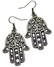 Hamsa Hand Earrings. Fatima's Hand.  Large