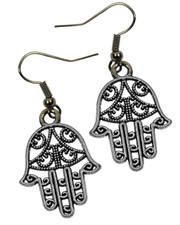 Small Filigree Hamsa Hand Dangly Earrings.