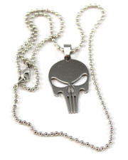 "Punisher Style Stainless Steel Skull Pendant. 20"" Ball Chain."