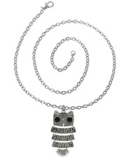 Vintage Style Pendant.Owl jointed with jeweled eyes necklace. On 20 inch chain