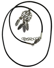 Wax Cord Necklace with Small Dreamcatcher Pendant. (Four Feathers)