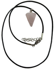 Wax Cord Necklace with Rose Quartz Crystal Pendulum Pendant.