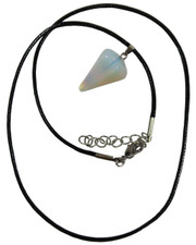Wax Cord Necklace with Opalite Crystal Pendulum Pendant.