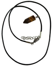 Wax Cord Necklace with Tigers Eye Crystal Bullet Pendant.