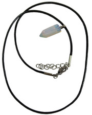 Wax Cord Necklace with Opalite Crystal Bullet Pendant.