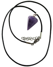 Wax Cord Necklace with Amethyst Crystal Pendulum Pendant.
