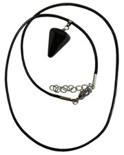 Wax Cord Necklace with Onyx Crystal Pendulum Pendant.