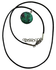 Wax Cord Necklace with Anyolite Disc Pendant.