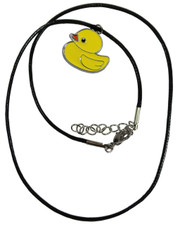 Wax Cord Necklace with Yellow Duck Enamelled Pendant