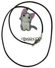 Wax Cord Necklace with Cute Cat Enamelled Pendant