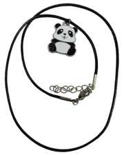 Wax Cord Necklace with Kawaii Panda Enamelled Pendant