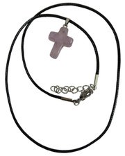 Wax Cord Necklace with Amethyst Crystal Cross Pendant.