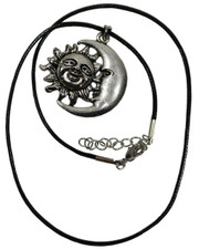 Wax Cord Necklace with Larger Sun and Moon Face Pendant.