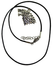Wax Cord Necklace, Direwolf Style Wolfs Head Sigil Pendant.