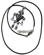 Wax Cord Necklace, Mega-Bot Robot Pendant.
