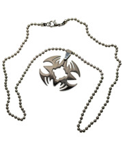 """Tribal Style Stainless Steel Pendant. 20"""" Ball Chain."""