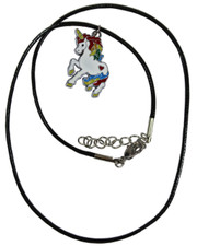 Wax Cord Necklace with Rainbow Unicorn Enamelled Pendant