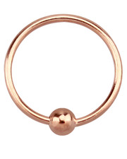 Rose Gold Plated Open Ring With Ball. Full ring, 925 Silver.