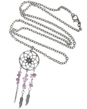 Mandala Dreamcatcher Necklace. Amethyst Semi Precious Stone Chips.