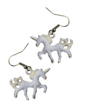 White Unicorn Enamelled Earrings.