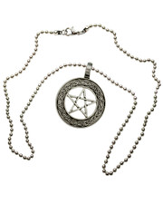 "Celtic Style Pentagram Pendant. 20"" Ball Chain."
