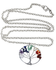 Wire Wrapped Tree Of Life Necklace. Chakra Crystal Chips.