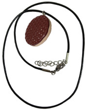 Chocolate Digestive Biscuit Necklace. Fimo Pendant.