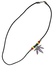 Wax Cord Necklace with Cannabis Leaf and Rasta Beads.