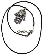 Wax Cord Necklace with Hamsa Hand Pendant (Hand of Fatima)