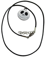 Wax Cord Necklace with Jack Skellington Style Enamelled Pendant