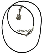 Wax Cord Necklace with Guitar Pendant.