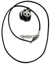 Wax Cord Necklace with Enamelled Wildlife Panda Pendant. WWF style.