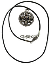 Wax Cord Necklace with Circle of Skulls Pendant.