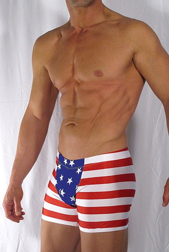 """ RED WHITE N BLUE PANEL FRONT SWIMWEAR """