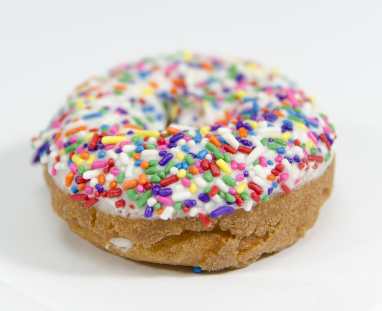 Rainbow Sprinkle White Icing Donuts Bills Donut Shop